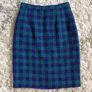 Vintage Cool Tone Wool Blend Tweed Pencil Skirt